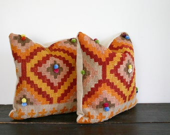 Thick Woven Recycled Wool Kilim Carpet Throw Pillow with Pom Poms