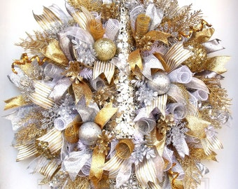 Christmas~New's Year's Wreath~Deco Mesh Wreath~Metallic Gold, Silver, and Platinum Door/Wall Wreath, Christmas Tree Wreath~Lots of Sparkle
