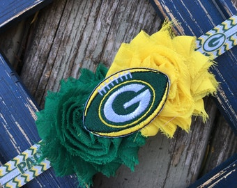 Green Bay Packers Football Shabby Flower Headband Babies Toddlers Girls