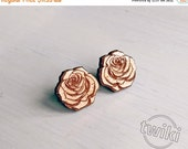 CYBER MONDAY 30% - Rose wood earring studs. -- cute rose earrings, flower earrings, flower wood earrings, rose studs, rose earrings, HYPOALL