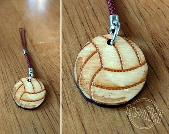 Volleyball mini wooden charm accessory. -- volleyball charm, volleyball mobile charm, volleyball phone charm, volleyball cellphone charm