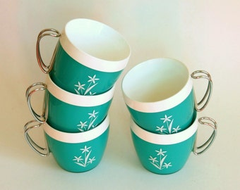 Vintage Coffee Mugs, Thermo Serv Cups, Turquoise NFC Plastic, Insulated Mug Set of 5