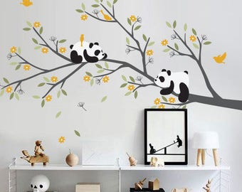 Pandas on branch wall decal - Nursery tree wall decor