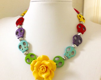 Skull Necklace Yellow Rose Sugar Skull Day of the Dead Necklace Rockabilly Jewelry
