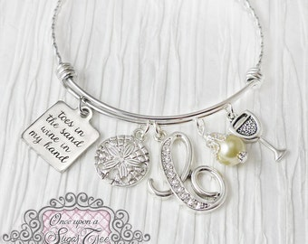 Toes in the Sand wine in my hand BRACELET- Expandable Bangle Bracelet- Best Friend, Jewelry, Bracelet- Initial Charm Bracelet- Personalized