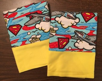 Superman pillow case set  made with 100% cotton flannel Standard available bright yellow cuff