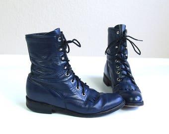 vtg 80s NAVY leather lace up ROPER BOOTS fringe 9.5 grunge western cowboy