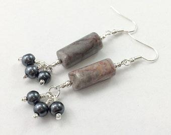 Grey Marble and Gunmetal Pearl Earrings / Stone and Pearl Earrings / Gray and Silver Earrings / Dangle Earrings