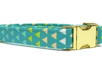 Teal Triangles Dog Collar   Your choice of metal buckle or plastic buckle   Blue Dog Collar   Geometric Dog Collar   Boy Dog Collar