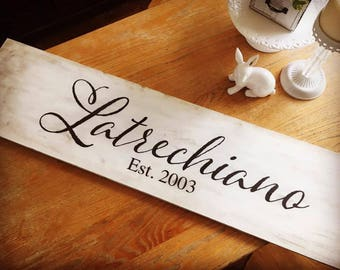 Last Name Rustic Wooden Sign