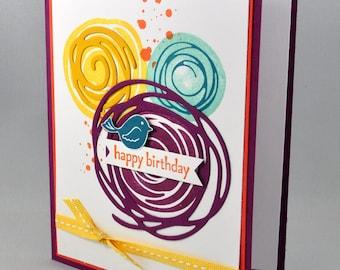 Birthday Greeting Card, Birthday Card, Happy Birthday, Aqua, Blue, Orange, Burgundy, Purple, Yellow, White, Bird, Circles, Ribbon