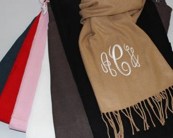 CLEARANCE SALE Monogrammed Scarf - Cashmere Feel Scarf - Personalized Scarf - Gift for Women - Teacher Gift - Monogram Friend Gift