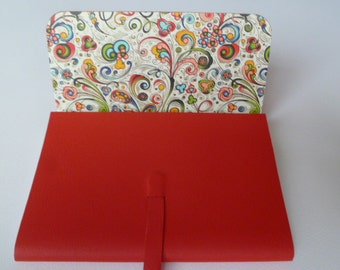 Leather Journal Leather Notebook Travel Journal Red/Orange Leather with a Crazy Art Nouveau Style Decorative Paper Lining.