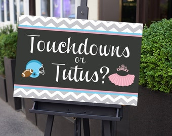 "Gender Reveal Sign 20x30"" Poster Printable - Instant Download - Touchdowns or Tutus Collection"