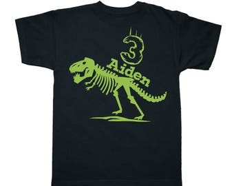 Dinosaur Birthday Shirt Trex - any age and name - pick your colors!