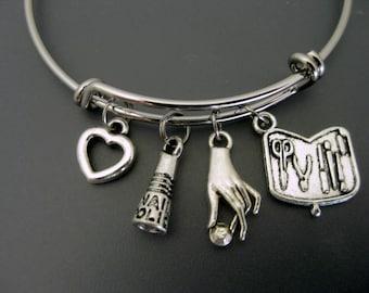 Nail Technician Bangle / Nail Technician Bracelet / Beautician Bangle / Manicurist Bangle / Adjustable Charm Bracelet / Expandable Bangle /