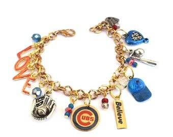 Chicago Cubs Baseball Bracelet -I LOVE the Cubs!