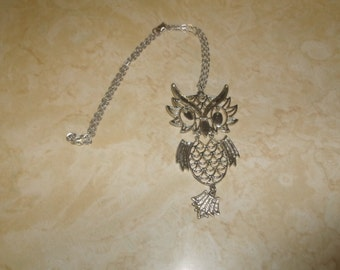 vintage necklace silvertone linked owl bird