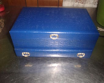 vintage ladies jewelry box buxton blue silver 1 drawer