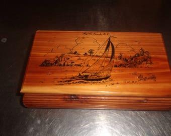 vintage solid cedar wood jewelry trinket box sailing myrtle beach south carolina