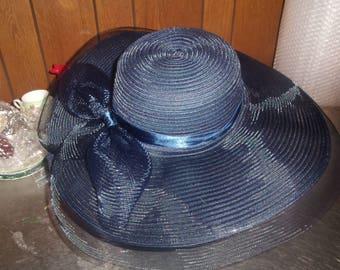 vintage ladies hat navy blue bow wide summer brim netting