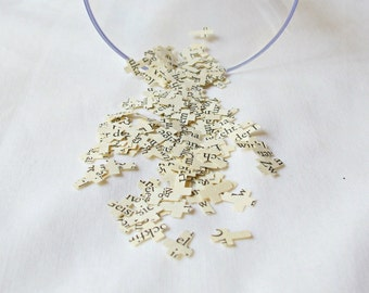 Baptism Confetti Cross Vintage Paper Upcycled Wedding Christening German Hand Punched Crucifix Shape Handmade Domum Vindemia Decoration