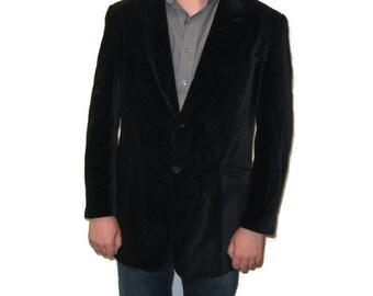 80s Velvet Jacket Black Sport Coat Velvet Sports Jacket Velvet Blazer Men's 44R Jacket 1980s Black Velvet Blazer Single Breasted Single Vent