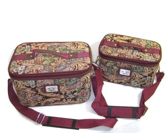 70s Train Case Set Tapestry Train Case Travel Make Up Case Vintage Travel Bags Luggage 1970s Carry On Bag Airline Carry On