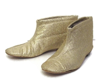 60s Gold Booties Gold Lame Booties Gold Moon Boots Metallic Boots 1960s MOD Booties  Low Heeled Boots Short Boot Slippers Gold House Shoes