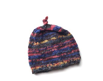 Baby beanie wool hand knitted pink multi