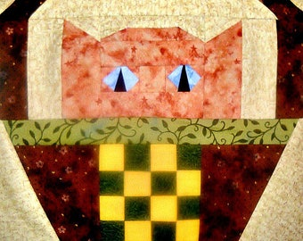 Checkerboard Cat Paper Pieced Quilt Block Pattern