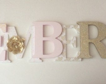 Wooden  letters for nursery in blush pink, white and gold