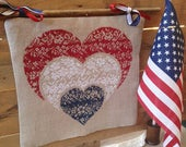 Nested Hearts R-111A cross stitch patterns by Rovaris at thecottageneedle.com red white and blue patriotic USA monochromatic hearts