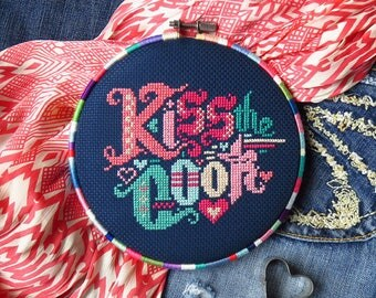 PDF Kiss The Cook cross stitch pattern by Lucky Star Stitches at thecottageneedle.com modern embroidery kitchen decor Mother's Day birthday
