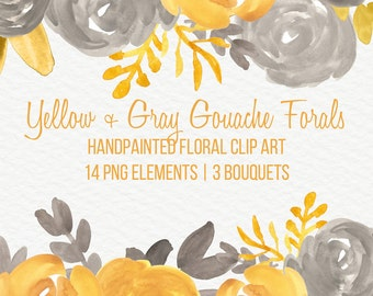 Yellow Gray Abstract Watercolor Flowers Floral Clip Art Digital Handpainted Roses Blooms PNG Wedding Invitation Small Commercial Use OK