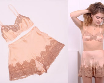 RESERVED for ELIZABETH*** Vintage 1930's Peach Silk Charmeuse and Taupe Lace Lingerie Set • 30's Bralette and Tap Pants Set • Size XS