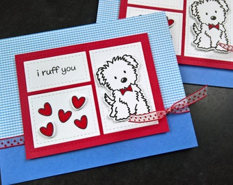 Dog Love Card, Valentine's Day Card for Boyfriend, Dog Anniversary Card for Husband, I Ruff You, Valentine Card