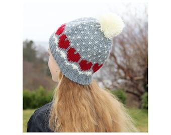 Snow Heart Cap - Crochet Pattern - Instant Download