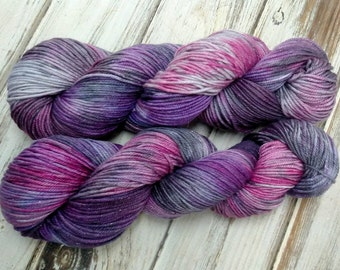 Chaotic Rocker Girl 3.5oz 100g 221yd Sparkle DK Yarn Light Worsted Merino Wool Mulberry Silk Stellina
