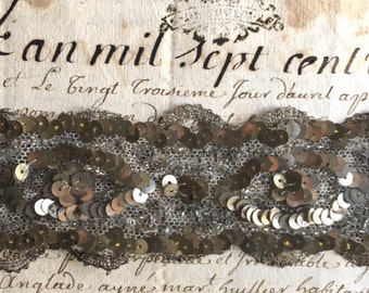 19th Century Haute Couture Atelier Lesage embroidered silver sampler bracelet w/ bead & sequin on tulle lace Christmas gift