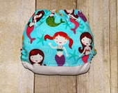SALE Under the Sea Mermaids One Size Pocket Cloth Diaper, Reusable Cloth Diaper, One Size Cloth Nappy, One Size Pocket Cloth Diaper, Diaper