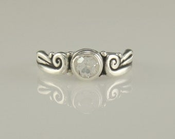 R942-Sterling Silver White Topaz Ring- One of a Kind