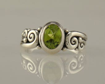 R998- Sterling Silver Peridot Ring- One of a Kind