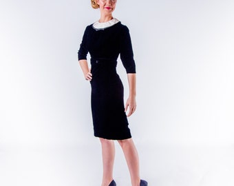 1950's Black Velvet Harvey Berin Wiggle Dress/ 50's Black and White Wiggle Dress
