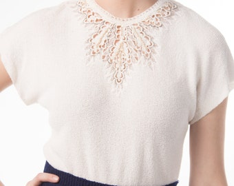 1950's 50's Cream Knit Blouse/ 40's Lace and Pearl Cut Out Knit Shell