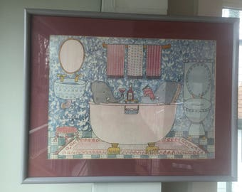Bathing Realities by Susan Gantner //Vintage Litho art of Two Elephants in Tub// Whimsical Art 1970s