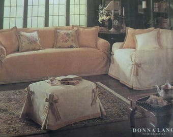 SLIPCOVER Pattern • Simplicity 8581 • Throw Pillows • Sofa Cover • Loose Fit Slipcovers • Home Decor • Chair Cover Pattern • WhiletheCatNaps
