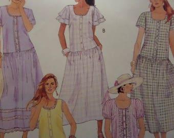 DROP WAIST DRESS Pattern • McCall's 6542 • Miss 10-14 • Flutter Sleeves • Scoop Neck • Sewing Patterns • Modern Patterns • WhiletheCatNaps
