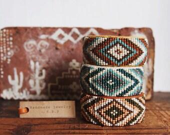 WBC-01,one of a kind handmade Native American inspired adjustable beaded cuff bracelet