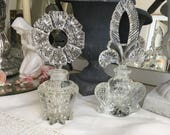 Reserved for Kristen Vintage Set of Stunning Perfume Bottles With Stoppers  -  Paris Shabby Chic